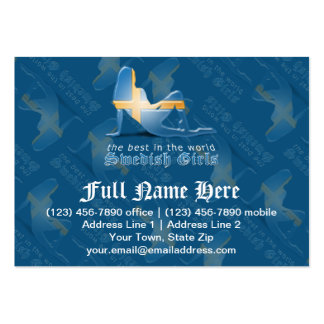 Swedish Girl Silhouette Flag Large Business Card