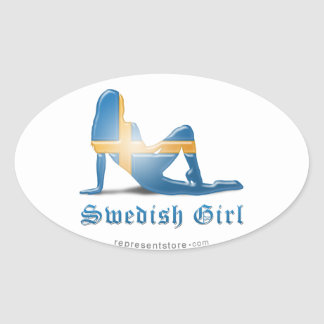Swedish Girl Silhouette Flag Oval Sticker