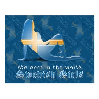 Swedish Girl Silhouette Flag Postcards
