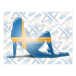 Swedish Girl Silhouette Flag Post Cards