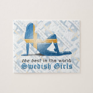 Swedish Girl Silhouette Flag Puzzles