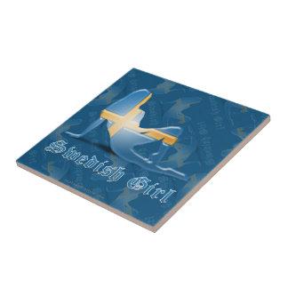 Swedish Girl Silhouette Flag Small Square Tile