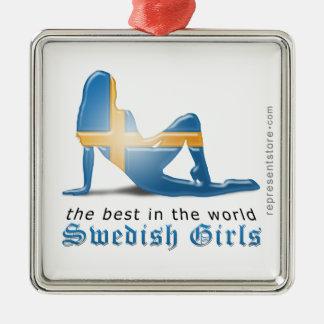 Swedish Girl Silhouette Flag Square Metal Christmas Ornament
