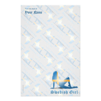 Swedish Girl Silhouette Flag Stationery