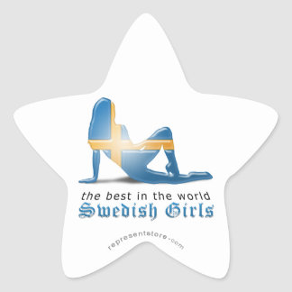 Swedish Girl Silhouette Flag Star Sticker