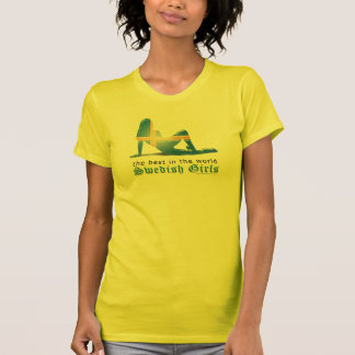 Swedish Girl Silhouette Flag T-Shirt