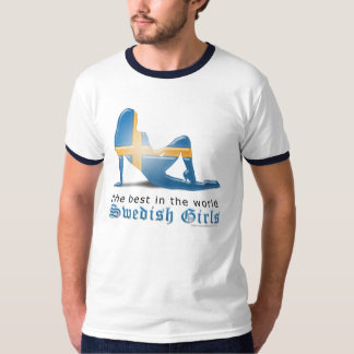 Swedish Girl Silhouette Flag T-Shirt