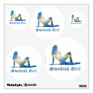 Swedish Girl Silhouette Flag Wall Sticker