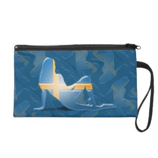 Swedish Girl Silhouette Flag Wristlet Purse