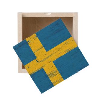 Swedish Grunge Flag Wooden Keepsake Box