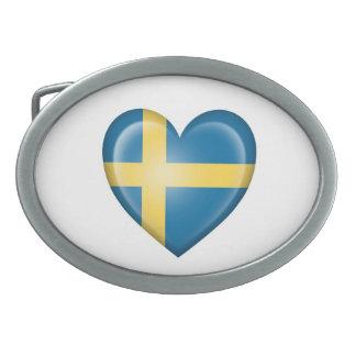 Swedish Heart Flag on White Belt Buckle