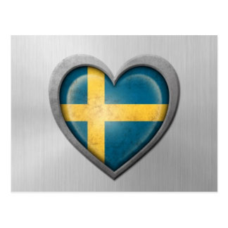 Swedish Heart Flag Stainless Steel Effect Postcard