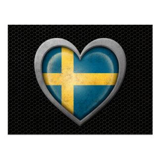 Swedish Heart Flag Steel Mesh Effect Postcard