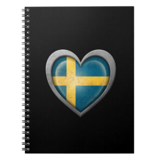 Swedish Heart Flag with Metal Effect Spiral Notebook