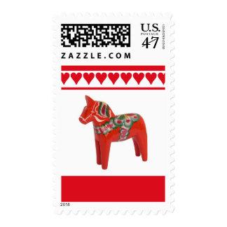 Swedish Hearts and Dala Horse Scandinavian FolkArt Postage