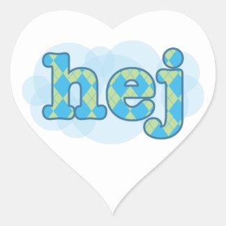 Swedish - Hej with argyle pattern Heart Sticker
