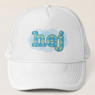 Swedish - Hej with argyle pattern Trucker Hat