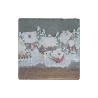 Swedish Holiday Winter Scene Stone Magnet