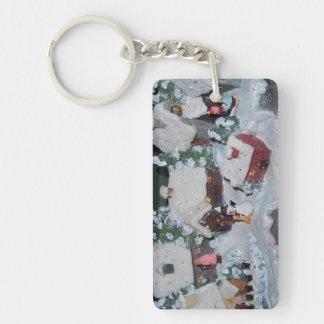 Swedish Holiday Winter Scene Double-Sided Rectangular Acrylic Keychain