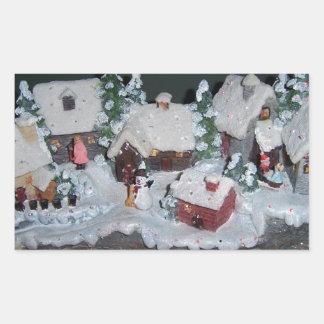 Swedish Holiday Winter Scene Rectangular Sticker