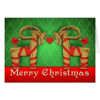 Swedish Julbok Twins Christmas Heart Personalized Card