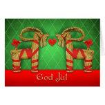 Swedish Julbok Twins with Heart God Jul Christmas Card