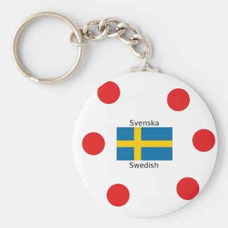 Swedish Language (Svenska) And Sweden Flag Design Keychain