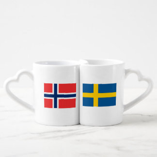 Swedish Norwegian flag lovers mug set for couple