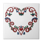 """Swedish Norwegian Rosemaling Heart Scandinavian Tile<br><div class=""""desc"""">Beautiful traditional Norwegian folk art painting,  often seen in Scandinavian home of Sweden,  Norway,  Denmark and Finland,  or during the Christmas holidays. Heart shaped stylized floral scroll  design for your home decor in red,  blue,  green on white.</div>"""