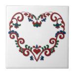 Swedish Norwegian Rosemaling Heart Tile