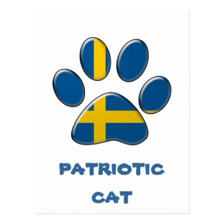 Swedish patriotic cat postcard