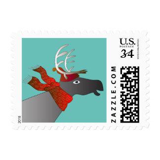 Swedish reindeer holiday postage