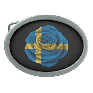 Swedish Rose Flag on Black Oval Belt Buckles