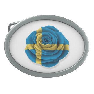 Swedish Rose Flag on White Oval Belt Buckles