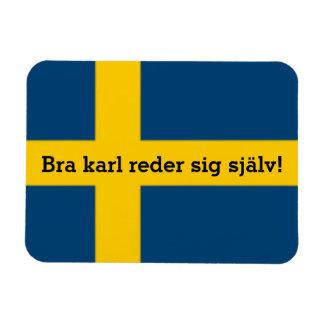 Swedish Saying Flag Theme Bra Karl Reder Sig Rectangular Photo Magnet