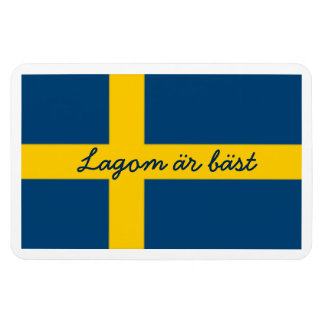 Swedish Saying Flag Theme Lagom Ar Bast Magnet