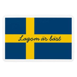 Swedish Saying Flag Theme Lagom Ar Bast Rectangular Photo Magnet