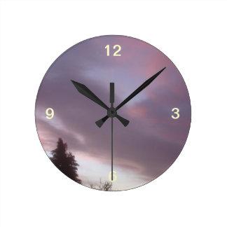 Swedish Sky At Sunrise Round Clock
