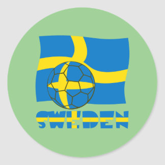 Swedish Soccer Ball and Flag Classic Round Sticker