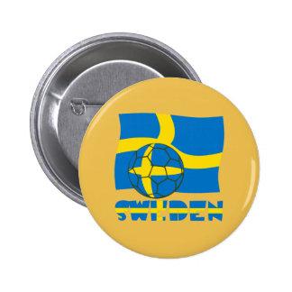 Swedish Soccer Ball and Flag Pinback Button