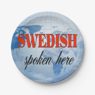 Swedish spoken here cloudy earth paper plate