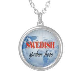 Swedish spoken here cloudy earth silver plated necklace