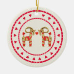 Swedish Straw Goat Julbok Heart Circle Double-Sided Ceramic Round Christmas Ornament