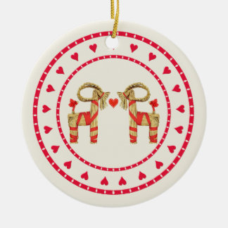 Swedish Straw Goat Julbok Heart Circle Double-Sided Ceramic Round Christmas Ornament