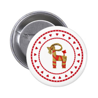 Swedish Straw Goat with Hearts Pinback Buttons