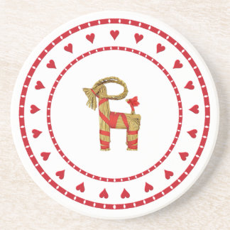 Swedish Straw Goat with Hearts Coaster