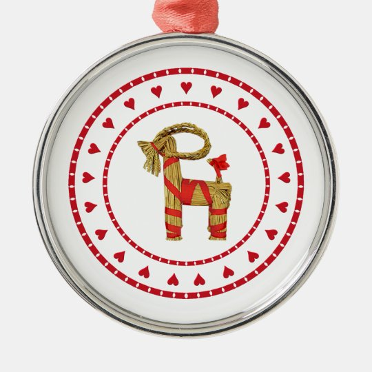 Swedish Straw Goat with Hearts Metal Ornament