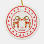 Swedish Straw Goats 1st Christmas Together Dated Double-Sided Ceramic Round Christmas Ornament