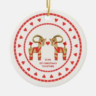 Swedish Straw Goats 1st Christmas Together Dated Christmas Ornaments