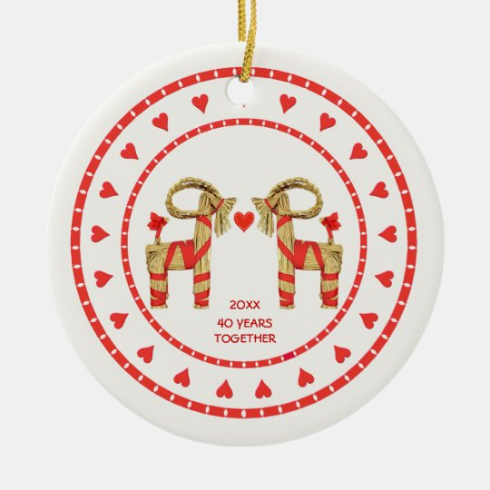 Swedish Straw Goats 40 Years Together Dated Ceramic Ornament